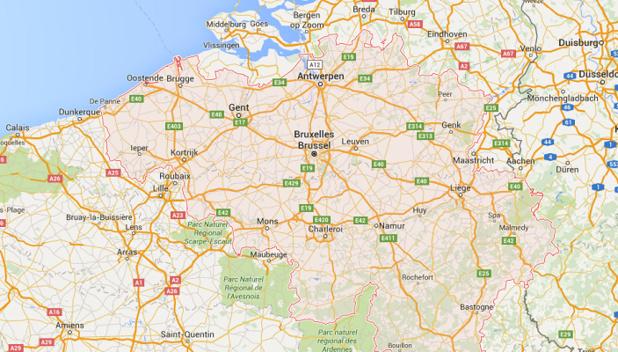 Bruxelles et sa région sont en niveau 4 de menace et le reste du territoire belge en niveau 3 de menace - DR : Google Maps