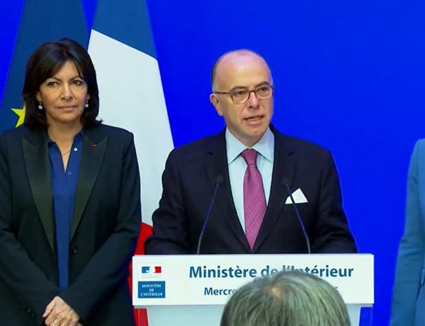 Anne Hidalgo, maire de Paris et Bernard Cazeneuve, ministre de l'Intérieur, ce matin lors de la conférence de presse - DR capture écran