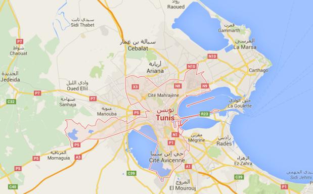 Le couvre-feu est en vigueur dans le grand Tunis jusqu'à nouvel ordre - DR : Google Maps
