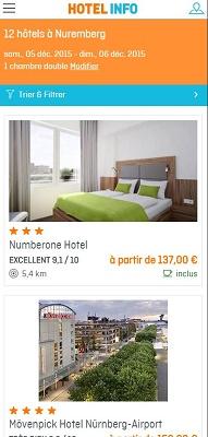 Le site mobile d'Hotel Info s'adapte à la taille de l'écran sur lequel il est consulté - Capture d'écran