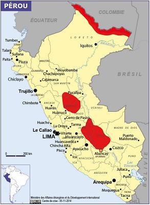 Les zones en rouge sont celles qui sont formellement déconseillées par le Quai d'Orsay - DR : Conseils aux Voyageurs