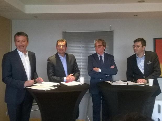 De gauche à droite : Jean-Luc Monteil, président du MEDEF PCA, Johan Bencivenga, président de l'UPE 13, Jean-Pierre Ghiribelli, président de l'UMIH PACA et Olivier Cazzulo, représentant Sud du Syntec Numérique - Photo P.C.