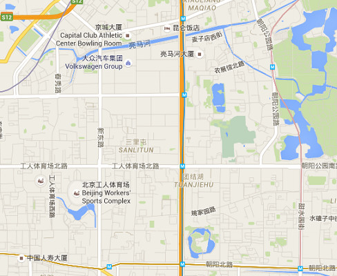 Le quartier de Sanlitun, dans le centre de Pékin, est généralement très fréquenté par les étrangers - DR : Google Maps