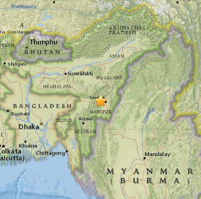 L'épicentre du séisme est situé près d'Imphal dans le Nord-Est de l'Inde - DR : USGS