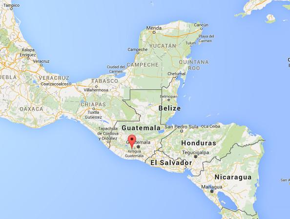Le volcan Fuego affiche un niveau d'activité élevé début 2016 - DR : Google Maps