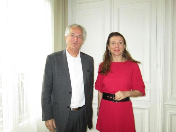 Yannick Fassaert président de la Fédération Nationale des Gîtes de France et Anne-Catherine Péchinot directeur général lors de leur conférence de presse du 13 janvier 2016. Photo MS.