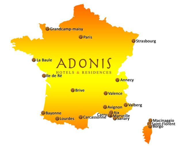 Carte des établissements Adonis Hotels & Résidences en France