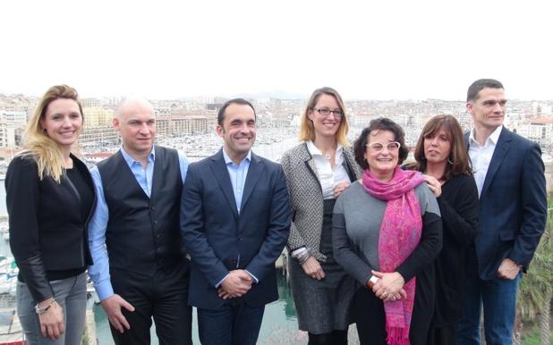 L'équipe de Jet tours et Béatrice Frantz-Clavier, responsable commerciale France de Star Clippers, réunis à Marseille, le 14 janvier 2016 - DR : A.B.