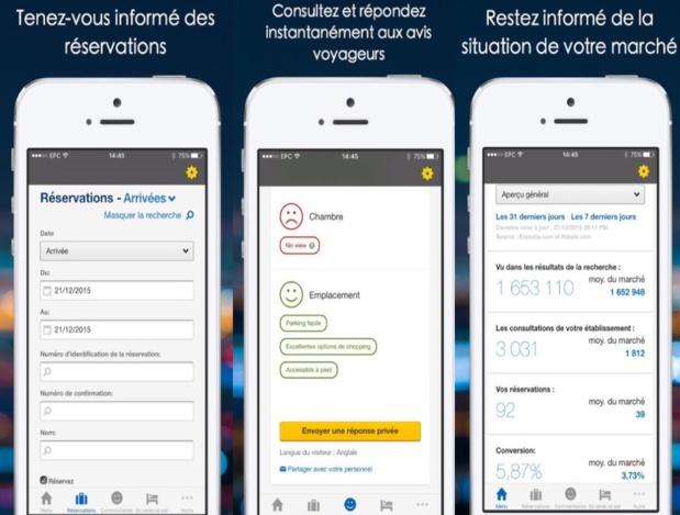 Lancement de la nouvelle application mobile Expedia pour ses clients hôteliers en France - © Captures d'écran