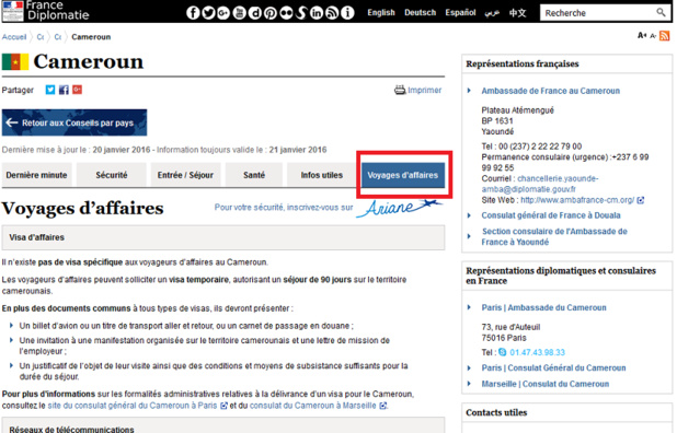 Quai d'Orsay : nouvel onglet voyages d'affaires dans les Conseils aux Voyageurs