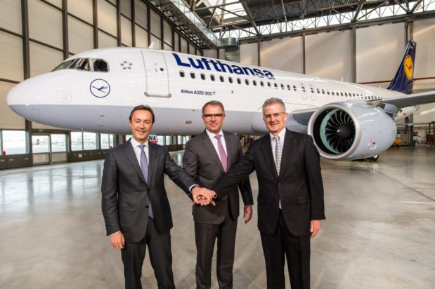 Fabrice Brégier, Airbus President and CEO Carsten Spohr, Chairman of the Executive Board and CEO of Deutsche Lufthansa AG. Robert Leduc, Pratt & Whitney President - Copyright Lufthansa Group