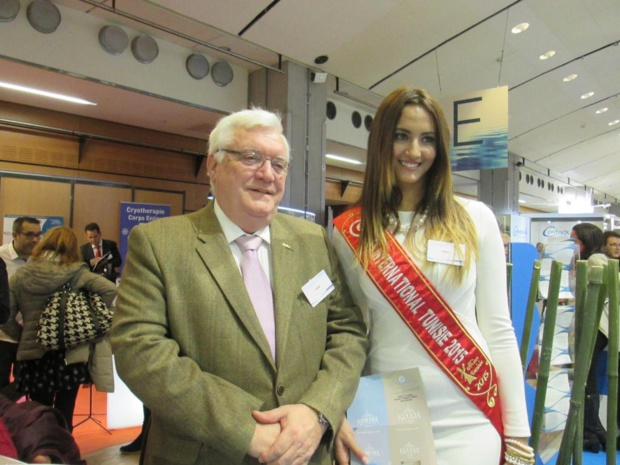 Christian Antoine DG des hôtels Radisson Blu de Djerba et Miss Tunisie 2015 au Salon des Thermalies le 22 janvier 2015. Photo MS.