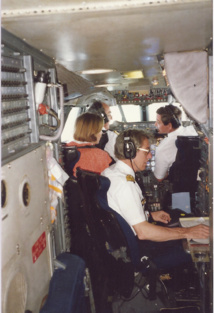 Le PNT de Concorde avec le commandant Lalanne dans son étroite cabine de pilotage. Photo MS.