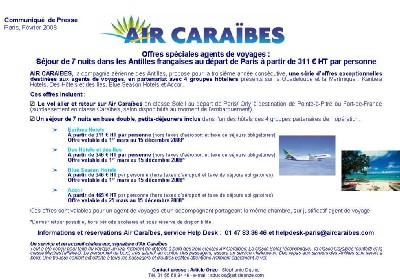 Air Caraïbes : offres spéciales pour les agents de voyages