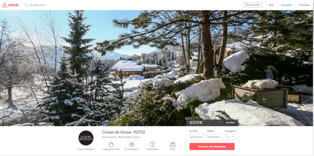 La location de montagne la plus chère sur AirBnb en France est ce chalet proche de la station de Megève - Capture d'écran