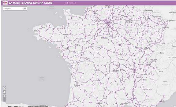La carte interactive de la SNCF présente les travaux effectués et à venir sur les lignes - Capture d'écran