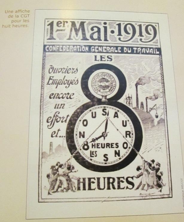 Une affiche CGT pour les 8 heures. On est en 1919 - DR