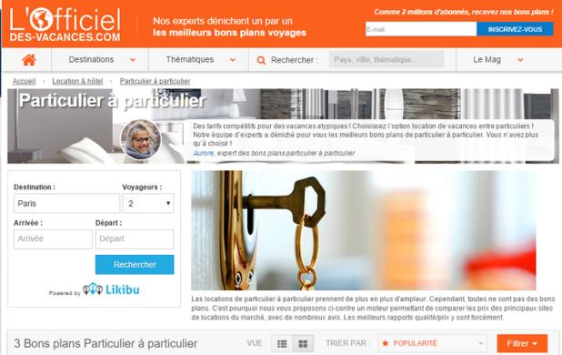 Le moteur de recherche de locations de vacances de Likibu est désormais présent dans la rubrique locations de particulier à particulier de l'Officiel des Vacances - Capture d'écran