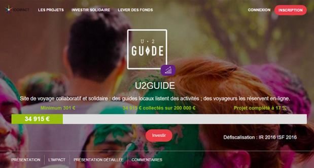 La campagne de crowfunding de U2GUIDE est lancée sur 1001Pact.com - Capture d'écran