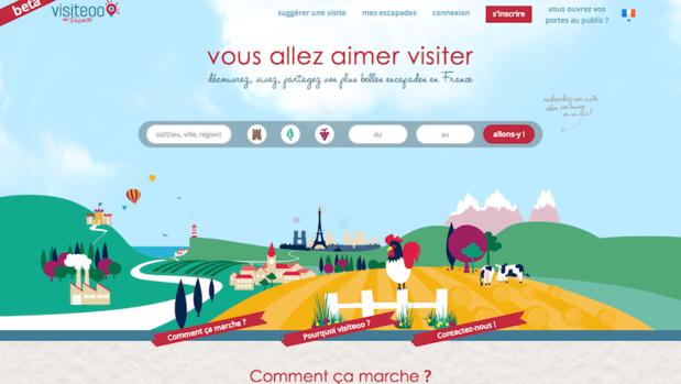Le site et l'application proposent une sélection d'expériences à vivre et à partager dans des lieux de patrimoine français autour de soi - capture d'écran visiteoo.fr