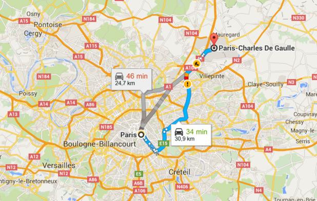 La ligne CDG Express reliera le centre de Paris à l'aéroport de Roissy- DR : Google Maps