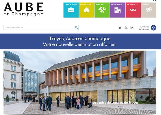Le nouveau site recense l'offre de l'Aube sur le segment du tourisme d'affaires - Capture d'écran