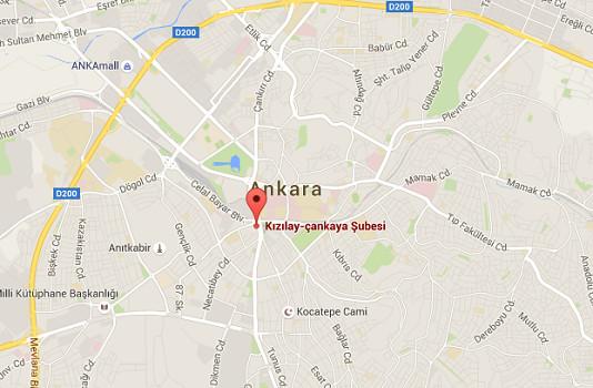 L'attentat a été perpétré dans le quartier de Kizilay, à Ankara - DR : Google Maps