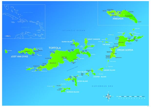 Carte des Iles Vierges Britanniques - Cliquez pour agrandir