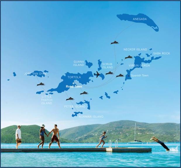 Carte de l'archipel des Iles Vierges Britanniques