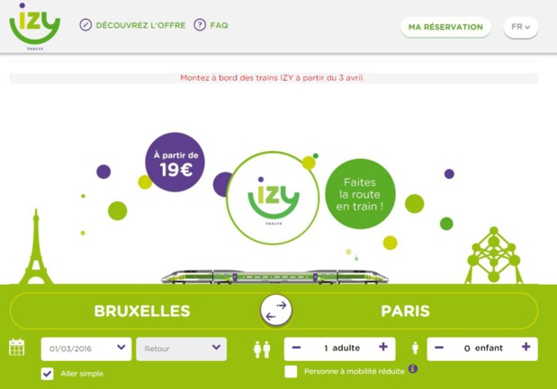 Avec Izy, on peut désormais rejoindre Bruxelles en train pour 19 euros. DR-Izy