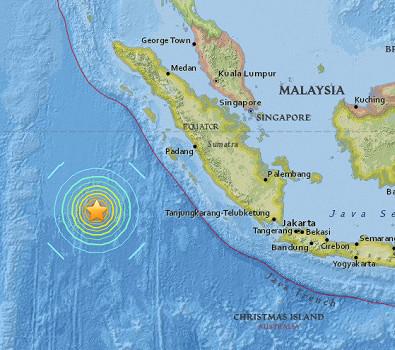 Le séisme s'est produit au large de l'île de Sumatra - DR : USGS