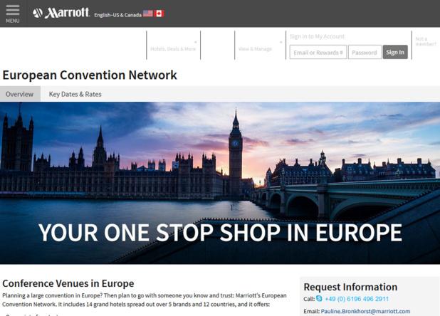 Le site dédié au Réseau Européen de Convention (ECN) lancé par Marriott International - DR