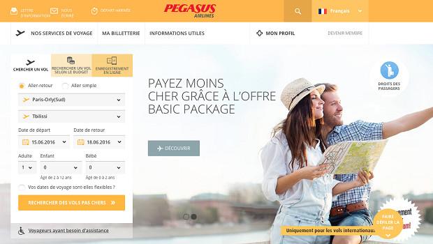 Le nouveau site Internet de Pegasus Airlines s'adapte à tous les écrans sur lesquels il est consulté - Capture d'écran
