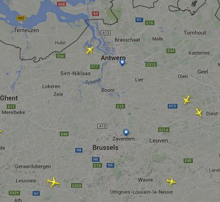 Les avions ne décollent plus et n'atterrissent plus à Bruxelles-Zaventem - DR : Flight Radar