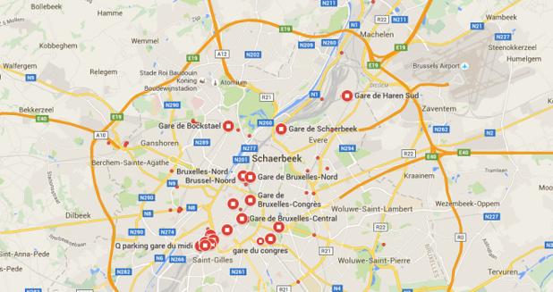 Plusieurs gares de Bruxelles sont toujours fermées ce mercredi 23 mars 2016 - DR : Google Maps