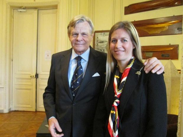 Mikael et Marie Krafft lors de leur présentation au Yacht Club de France. Photo MS.