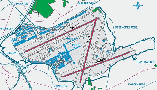 Configuration des pistes de l'aéroport de Bruxelles-Zaventem - DR : Brussels Airport
