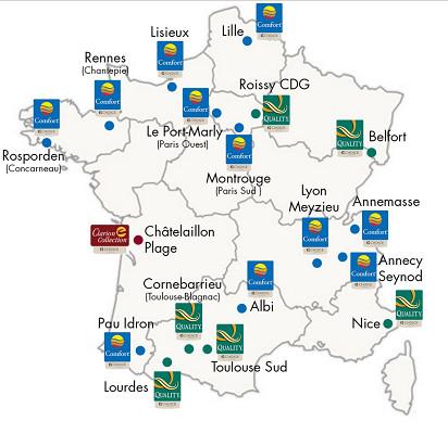 Les ouvertures de Choice Hotels France, en France, en 2015 - DR : Choice Hotels France