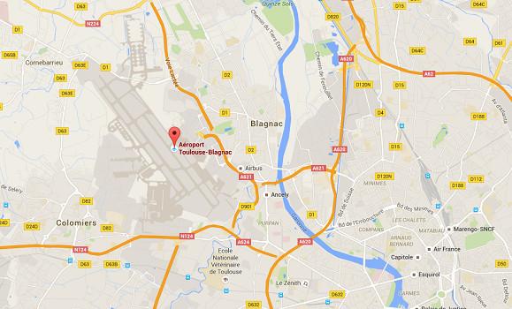 Les taxis bloquent les accès routiers à l'aéroport de Toulouse-Blagnac - DR : Google Maps