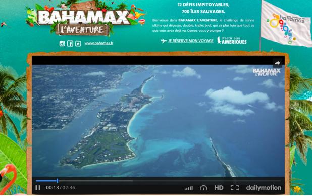 Cette année, l'office du tourisme des Bahamas pousse plus loin encore ''l'expérience voyageur'' en utilisant, en le détournant, le contexte de la téléréalité (c) capture d'écran