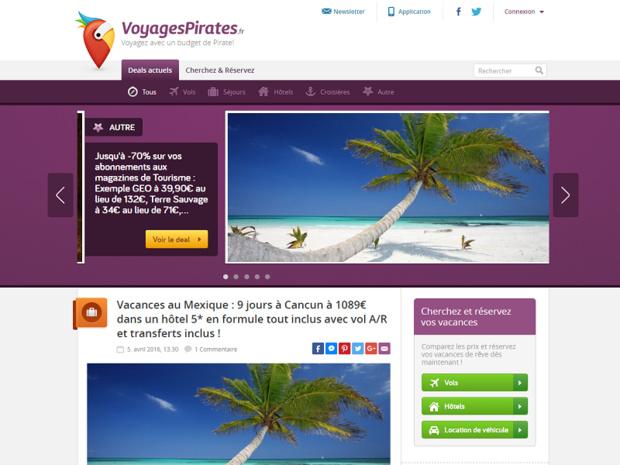 Chaque jour, Voyages Pirates publie des bons plans touristiques - Capture d'écran