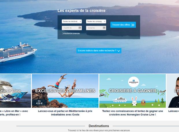 Dreamlines commercialise plus de 25 000 offres de croisières sur son site Internet - Capture d'écran