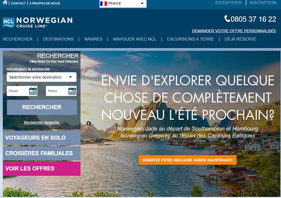 Norwegian Cruise Line renforce sa présence sur le marché français avec un site Internet en version française - Capture d'écran