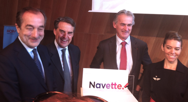 Lionel Guérin, Alexandre de Juniac, Frédéric Gagey pour la présentation de la nouvelle offre commerciale d'Hop ! Air France - DR : LAC