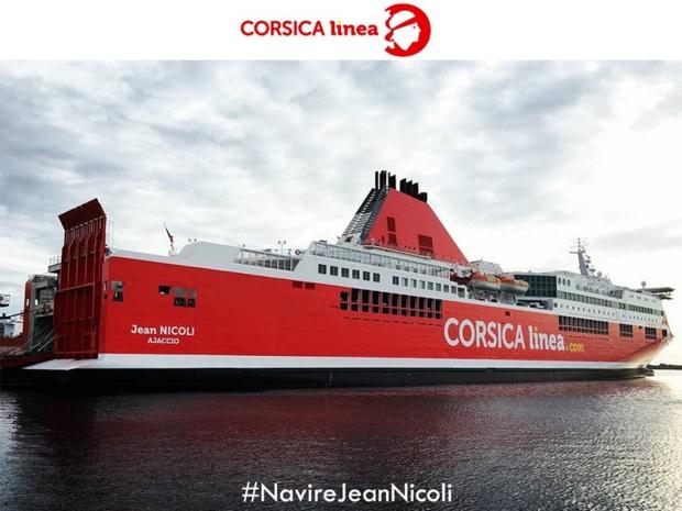 Le Jean Nicoli a pris la mer aux couleurs de Corsica Linea, jeudi 7 avril 2016, pour une traversée entre Marseille et Ajaccio - DR : Compte Twitter Corsica Linea