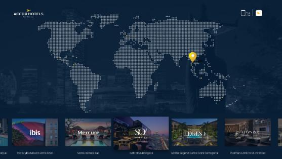 La page d'accueil de l'application d'AccorHotels sur Apple TV présente un planisphère - DR : AccorHotels