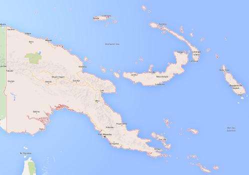 Plusieurs provinces de Papouasie-Nouvelle-Guinée sont actuellement le théâtre de troubles à l'ordre public - DR : Google Maps
