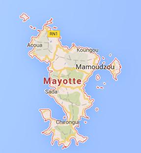 Une grève générale se déroule à Mayotte depuis le 30 mars 2016 - DR : Google Maps