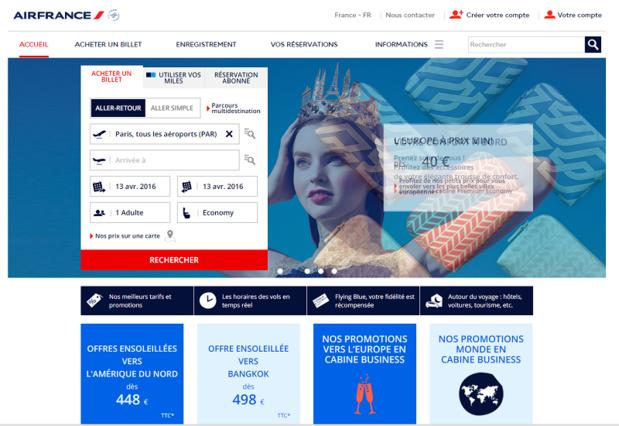 Le site web d'Air France (c) capture d'écran