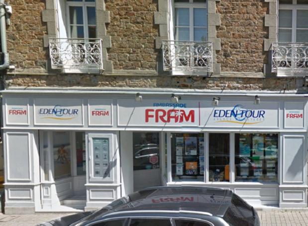 Vitrine de l'Ambassade FRAM d'Eden Tour au 5, rue Ville Pépin, à Saint-Malo - DR : Google Street View